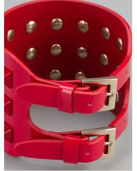 Valentino | Red Leather Rockstud Cuff | Lyst