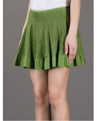Alaïa Green Honeycomb Pleat Mini Skirt