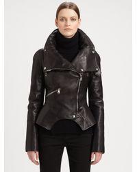 Alexander McQueen - Black Leather Motorcycle Jacket - Lyst