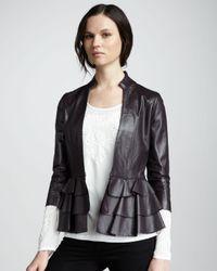 Alice By Temperley - Purple Page Rufflehem Leather Jacket - Lyst