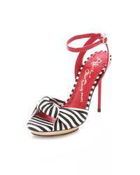 Alice + Olivia White Striped Sandals