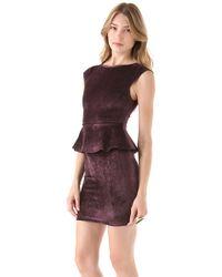 Alice + Olivia - Purple Victoria Peplum Dress - Lyst