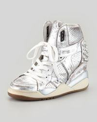 Ash Freak Metallic Studded Sneaker Silver