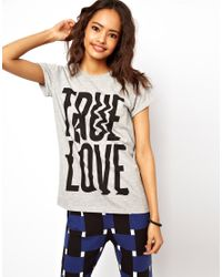 ASOS | Gray Tshirt with Blurred True Love | Lyst