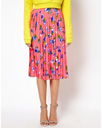 ASOS - Pink Pleated Midi Skirt in Floral Print - Lyst
