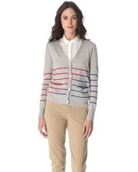 Band of Outsiders Gray Striped Cardigan