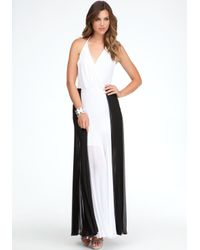 Bebe White Pleated Colorblock Maxi Skirt