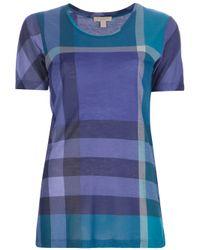 e7e47086a89cbb Lyst - Burberry Brit Plaid Print Tshirt in Blue