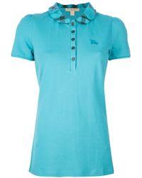 Burberry Blue Checked Collar Polo Shirt