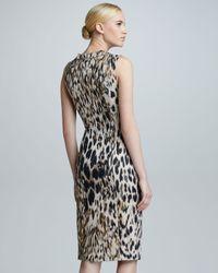 Carolina Herrera Multicolor Animal Jacquard Sleeveless Sheath Dress