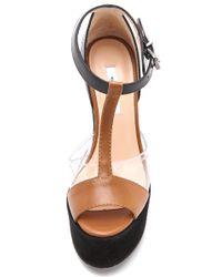 Carven Brown T Strap Platform Sandals