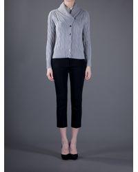 Cruciani Gray Cable Knit Cardigan
