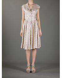 Dolce & Gabbana Natural Sleeveless Polka-Dot Dress