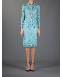Dolce & Gabbana Multicolor Floral Lace Skirt Suit