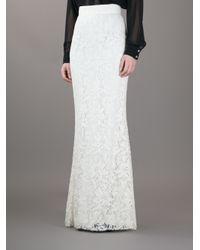 Dolce & Gabbana White Lace Maxi Skirt