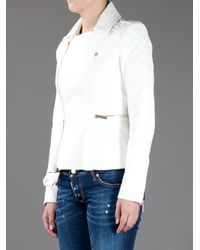 DSquared² White Quilted Leather Jacket