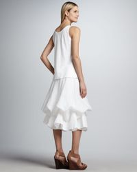 Eileen Fisher White Handkerchief Linen Cinchable Long Skirt