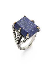 Elizabeth and James Metallic Bird Claw Ring with Lapis
