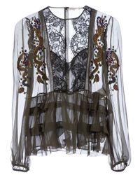 Emilio Pucci | Green Ruffle Detail Shirt | Lyst