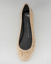 Giuseppe Zanotti - Metallic Crystal-covered Suede Ballerina Flat - Lyst