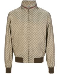 Gucci Metallic Logo Print Bomber Jacket for men