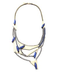 Iosselliani Metallic Multi Strand Crystal Necklace
