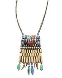 Iosselliani - Metallic Fused Stone Agate Pendant Necklace - Lyst