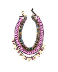 Iosselliani Pink Multi Strand Collar Necklace