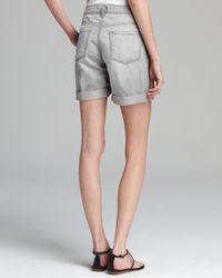 J Brand Metallic Shorts Boyfriend Nash in Cirrus