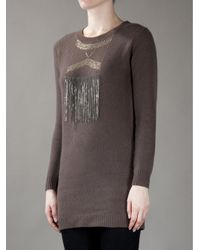 JOSEPH | Brown Fringed Sweater | Lyst