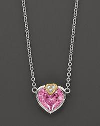 Judith Ripka - Pink Fontaine Stone Heart Pendant - Lyst