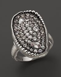 Judith Ripka Sterling Silver Vertical Mercury Ring with White Sapphires