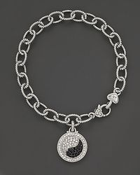 Judith Ripka Metallic Sterling Silver Ying Yang Bracelet with Black and White Sapphires