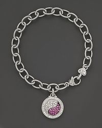 Judith Ripka Sterling Silver Ying Yang Charm Bracelet With White And Pink Sapphires