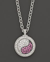 """Judith Ripka - Ying Yang Pendant Necklace With White And Pink Sapphires, 17"""" - Lyst"""