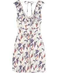 Juicy Couture | White Iris-Print Crepe Dress | Lyst