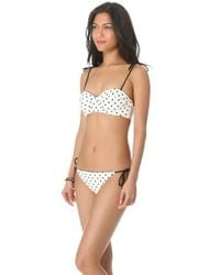 Juicy Couture White Itsy Bitsy Polka Dot Bikini Top - Angel