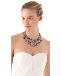 Kenneth Jay Lane | Metallic Crystal Lace Bib Necklace Silvercrystal | Lyst