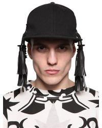 KTZ Black Leather Tassel Gabardine Baseball Hat for men