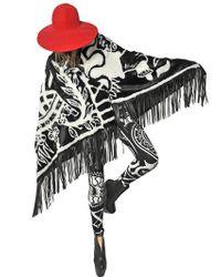 KTZ Black Printed Faux Fur Shawl W Leather Fringe