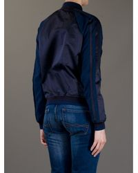 Lacoste L!ive Blue Contrast Sleeve Bomber Jacket