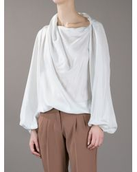 Lanvin White Slim Draped Blouse