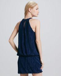 Laundry by Shelli Segal Blue Halterneck Blouson Dress