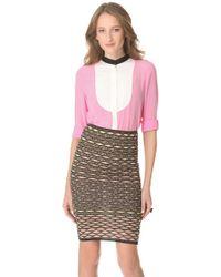 M Missoni Pink Colorblock Tux Shirt