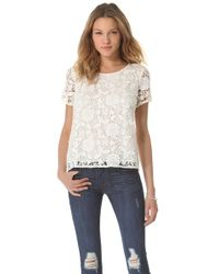 Madewell White Lace T-Shirt