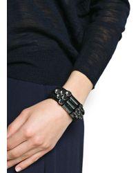 Mango - Black Touch Crystals Triple Cord Bracelet - Lyst
