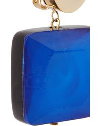 Marni - Blue Goldtone Resin Clip Earrings - Lyst