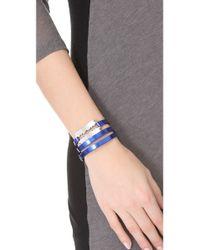 McQ Blue Razor Triple Wrap Bracelet