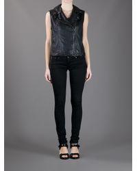 Michael Kors Black Leather Gilet