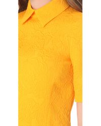 Moschino - Yellow Flower Jacquard Dress with 34 Sleeves - Lyst